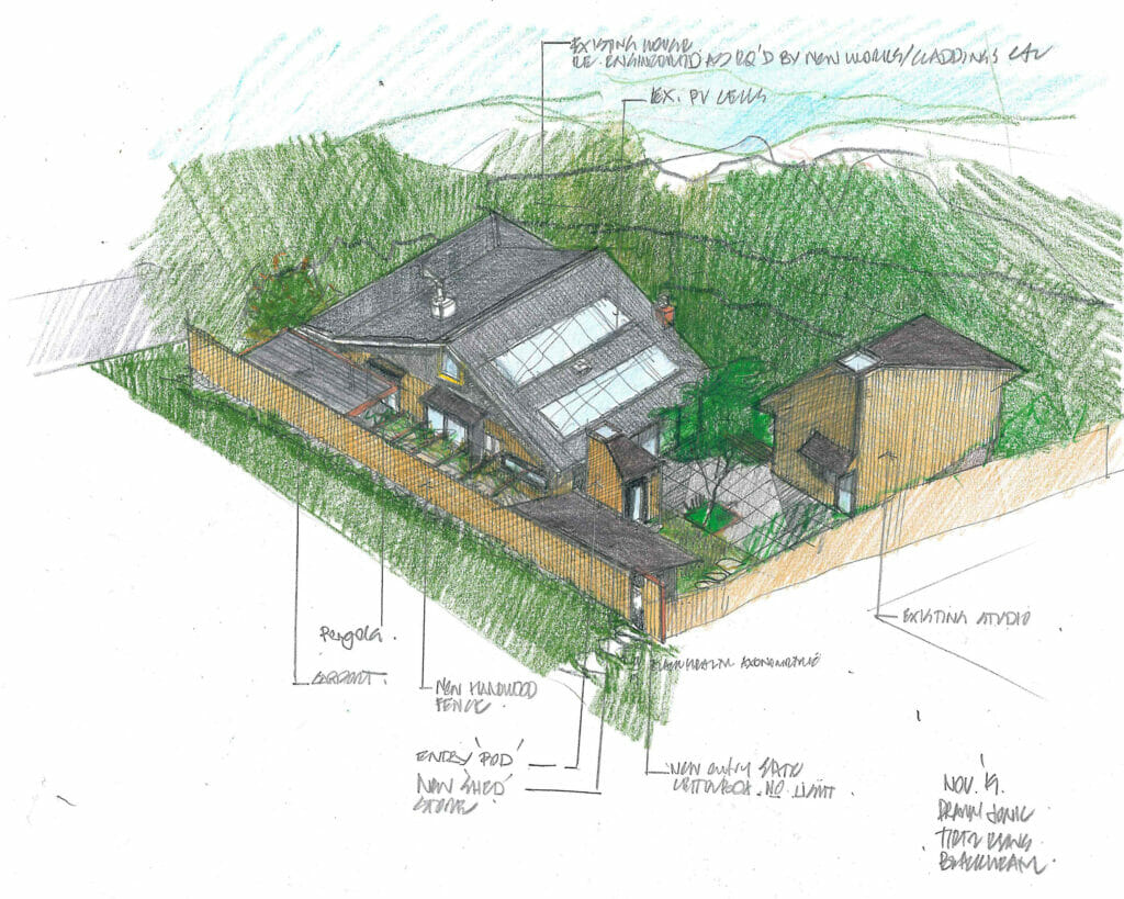 Sketch of Blue Mountains architectural renovation